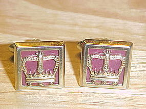 VINTAGE HICKOK KINGS CROWN CUFFLINKS GOLD TONE