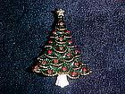 VINTAGE CHRISTMAS TREE PIN RHINESTONE & ENAMEL