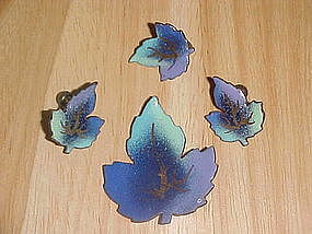 VINTAGE ENAMEL OVER COPPER MAPLE LEAF PIN & EARRINGS
