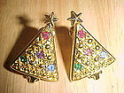 VINTAGE PAIR OF RHINESTONE CHRISTMAS TREE EARRINGS