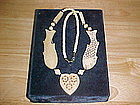TRIBAL FOLKART LOVE NECKLACE CARVED BONE FISH & HART
