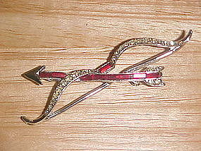VINTAGE VALENTINE BOW & ARROW RHINESTONE PIN