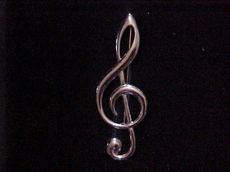 VINTAGE G CLEF STERLING SILVER PIN BY BEAU