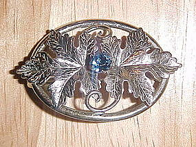 VINTAGE CARL ART STERLING PIN W/ BLUE RHINESTONE