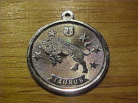 VINTAGE STERLING SILVER TAURUS CHARM DISC