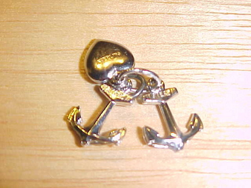 VINTAGE HEART & ANCHORS STERLING SILVER CHARM