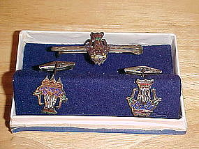 VINTAGE STERLING & ENAMEL SIAM CUFFLINKS & TIE BAR