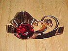 RETRO 1940'S STERLING BROOCH W/ LARGE RUBY STONE