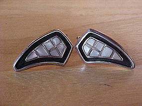 VINTAGE MODERNE STERLING EARRINGS W/ ABALONE TILES