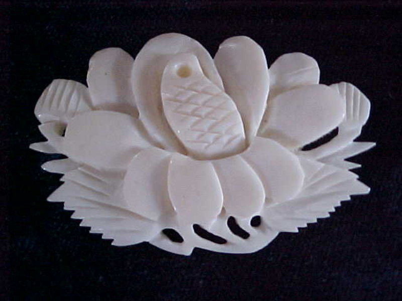 CARVED IVORY LOTUS FLOWER BLOSSOM PIN
