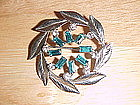 CARL ART SILVER PIN W/ BLUE TOPAZ & DIAMOND RHINESTONES