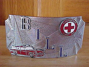 VINTAGE FIRE DEPARTMENT AMBULANCE BELT BUCKLE BILL