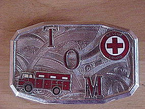VINTAGE FIRE DEPARTMENT RESCUE TRUCK BELT BUCKLE TOM