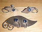 VAN DELL STERLING PIN & EARRINGS W/ BLUE RHINESTONES