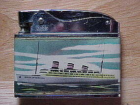 VINTAGE QUEEN OF BERMUDA SHIP CIGARETTE LIGHTER