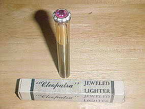 VINTAGE LADIES CLEOPATRA JEWELED CIGARETTE LIGHTER