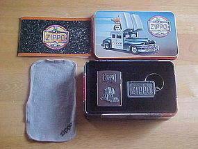 ZIPPO CAR CIGARETTE LIGHTER W/KEY RING & TIN CASE 1998