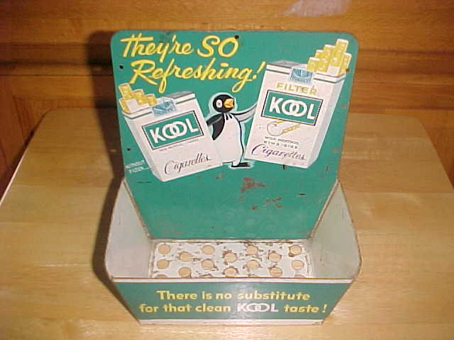 VINTAGE 1950'S KOOL CIGARETTES TIN PACK WALL HOLDER