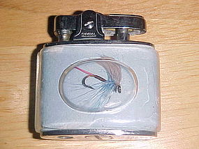 VINTAGE FISHING FLY CIGARETTE LIGHTER SYMBOL JAPAN