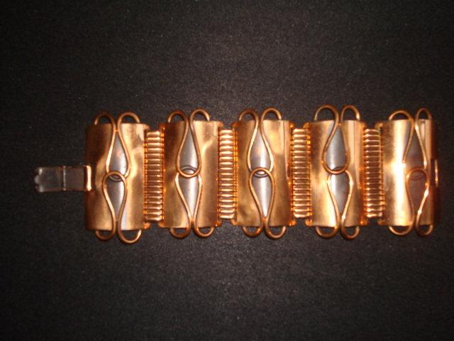 VINTAGE MODERNE COPPER 5 PANEL BRACELET