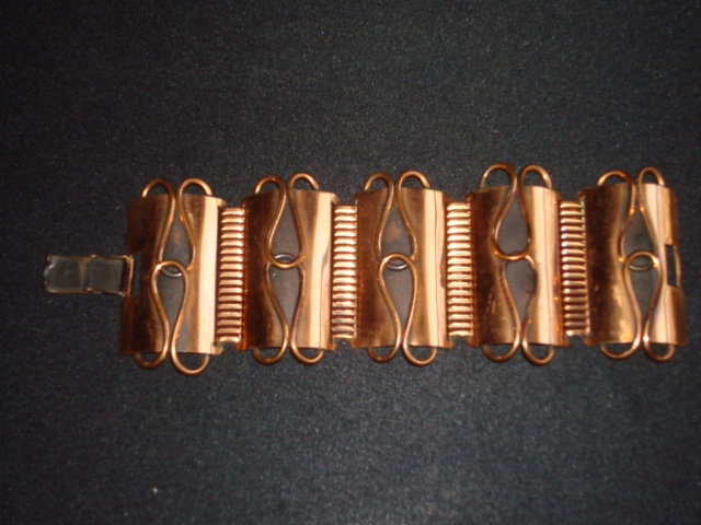VINTAGE MODERNE COPPER 5 PANEL BRACELET