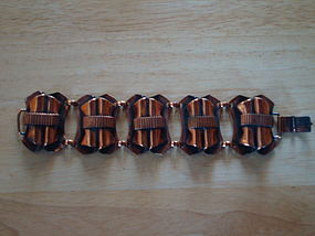 VINTAGE FIFTIES FIVE PANEL  COPPER BRACELET