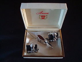 AIRPLANE ENGINE & PROPELLER  CUFFLINKS & TIE CLIP