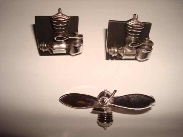 AIRPLANE ENGINE & PROPELLER  CUFFLINKS & TIE CLIP