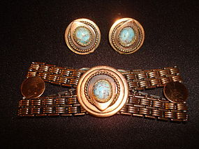 1950'S COPPER W/ FAUX TURQUOISE BRACELET & EARRING SET