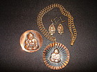 VINTAGE 1950'S COPPER BUDDHA JEWELRY COLLECTION 3 PCS
