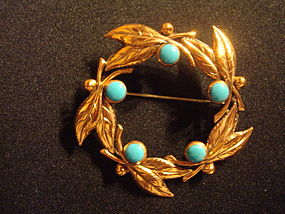 VINTAGE BELL COPPER BROOCH WREATH W/ FAUX TURQUOISE