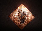 1950'S DIAMOND SHAPED COPPER BROOCH W/ STYLIZED FLOWER