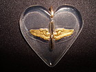 VINTAGE LUCITE MILITARY SWEETHEART HEART PENDANT