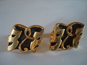 VINTAGE ANSON CUFFLINKS COMEDY & TRAGEDY THEME