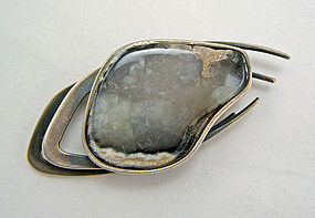 Maxwell Chayat Modernist Sterling Brooch w/Gray Agate