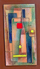 Modernist Enameled Abstract Metal Plaque