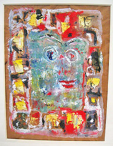 Eve Peri Modernist Gouache/Collage Painting
