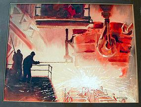 Jack Coggins WPA Type Industrial Modernist Gouache