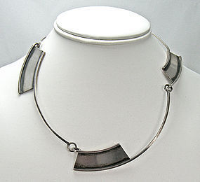 Bill Tendler Modernist Sterling Silver Necklace
