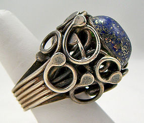 Rachel Gera Modernist Sterling and Lapis Ring Israel