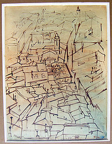 "Svetozar Radakovich ""Toza"" Watercolor Paris/Nice 1953"