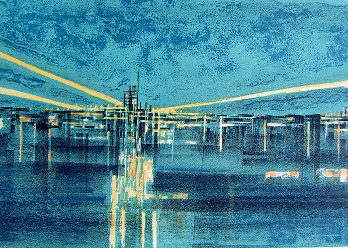 Richard Florsheim 'Airport' Color Lithograph 1964