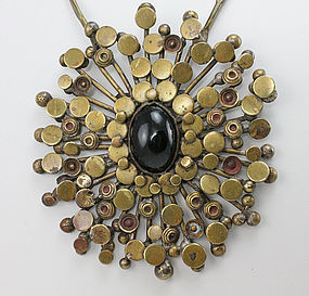 Modernist Brass Cosmic Burst Artisan Necklace 1970