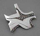 Modernist Artisan Sterling Silver Brooch