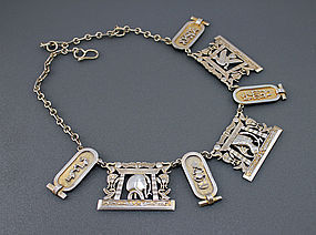 Egyptian Revival Art Deco Silver Necklace