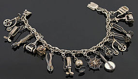 1940's Mexican Sterling Charm Bracelet Moving Parts