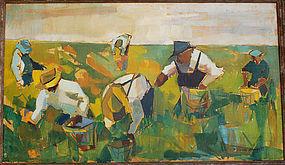 William Barnett Modernist Field Workers O/C 1940's