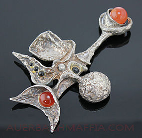 Israeli Surrealist Sterling Pendant 3 5/8""