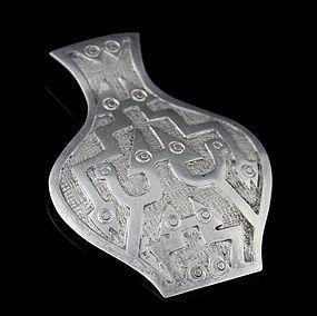 Ecuadorian Silver Urn with Serpents Brooch