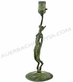 Robert Garret Thew Bronze Satyress Lamp - Sculpture
